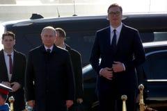 Belgrado, Servië 17 januari 2019 Voorzitter van Russische Federatie, Vladimir Putin in officieel bezoek aan Belgrado, Servië royalty-vrije stock fotografie