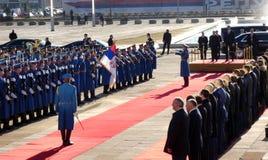 Belgrado, Servië 17 januari 2019 Voorzitter van Russische Federatie, Vladimir Putin in officieel bezoek aan Belgrado, Servië stock afbeelding