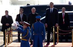 Belgrado, Servië 17 januari 2019 Voorzitter van Russische Federatie, Vladimir Putin in officieel bezoek aan Belgrado, Servië stock foto's