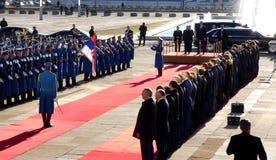 Belgrado, Servië 17 januari 2019 Voorzitter van Russische Federatie, Vladimir Putin in officieel bezoek aan Belgrado, Servië royalty-vrije stock foto
