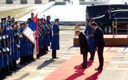 Belgrado, Servië 17 januari 2019 Voorzitter van Russische Federatie, Vladimir Putin in officieel bezoek aan Belgrado, Servië royalty-vrije stock afbeeldingen