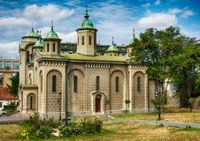 Belgrado, Servië 07/09/2017: Kerk van de Beklimming, Belgraderom het gezichtspunt op de tempel Heilige Sava Royalty-vrije Stock Foto's