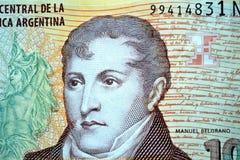 Belgrano de Manuel dez pesos Imagem de Stock