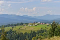 Landscape with small village with church near Belis lake. Stock Photography