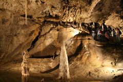 Belianska cave (Slovakia). Stalagmites and stalactites in a cave Royalty Free Stock Photos