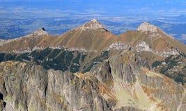 Belianske Tatras od Lomnicky szczytu, Wysoki Tatrzański park narodowy Zdjęcie Stock