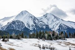 Belianske Tatry mountains in winter, Slovakia. Belianske Tatry mountains in winter, Slovak republic. Seasonal natural scene. Travel destination royalty free stock image