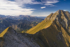 Belianske Tatry. Scenic mountain range of Belianske Tatry in Slovakia on sunny autumn day stock photo