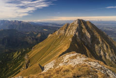 Belianske Tatry. Stunning mountain peak of Belianske Tatry in Slovakia on sunny autumn day royalty free stock image