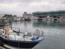 Beliche do barco em um cais dos fishmen em Taiwan Imagens de Stock Royalty Free