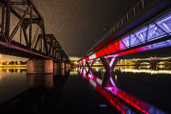 Belichtete Brücke Lizenzfreie Stockfotos