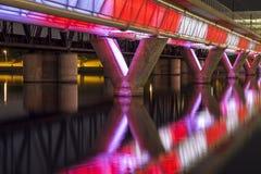 Belichtete Brücke Stockbild