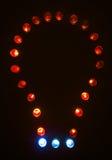 Belichtete Glühlampen Stockfotos
