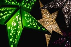 Belichtete Handwerks-Stern-Licht-Dekorationen stockbilder