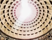 Belichtete Haube des Pantheons, Rom, Italien Stockfotografie