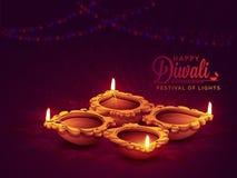 Belichtete Lit-Lampe für Diwali-Feier Lizenzfreie Stockfotos