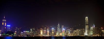 Belichtete Skyline von Hong Kong Lizenzfreie Stockfotos