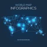 Belichtete Weltkarte infographic Stockbilder