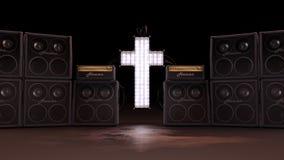 Belichteter Christian Cross mit Sprechern lizenzfreie abbildung