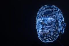 Belichteter Kopf des Roboters lizenzfreie stockbilder