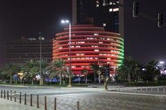 Belichtetes Gebäude in Abu Dhabi, UAE Lizenzfreie Stockfotografie