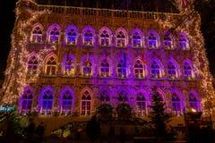 Belichtetes gotisches Rathaus Löwen auf Weihnachten, Belgien lizenzfreies stockfoto