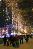 Belichtetes Zagreb an der Ferienzeit Stockbild