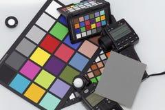 Belichtungsmesser und Farbskala für Berufsphotographie Stockfotos
