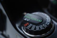 Belichtungszeit-Skala-Knopf-Abschluss oben Stockfoto