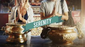 Belief Faith Spirituality Shrine Temple Concept. Couple Belief Faith Spirituality Serenity Concept Stock Photography