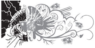 Belief and Life Graffiti Tattoo. An eclectic and dynamic tattoo-like graphic element featuring graffiti-like sub-elements. The left half can symbolize belief Stock Images