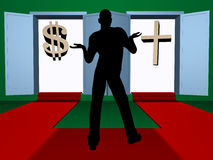 Belief or money?. Illustration of the person which chooses between money and belief royalty free illustration