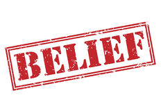 Belief red stamp. On white background Stock Photography