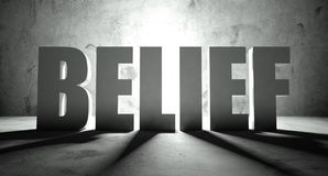 Belief word with shadow, background. With text Royalty Free Stock Images
