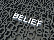 Belief. Word Belief in white, salient among other keywords concept in grey. 3d render illustration stock illustration