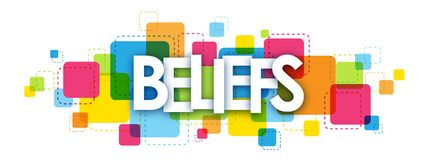 BELIEFS banner on colorful squares background. BELIEFS overlapping letters banner on colorful squares background. Vector stock illustration