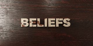 Beliefs - grungy wooden headline on Maple - 3D rendered royalty free stock image. This image can be used for an online website banner ad or a print postcard royalty free illustration