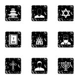 Beliefs icons set, grunge style. Beliefs icons set. Grunge illustration of 9 beliefs vector icons for web stock illustration
