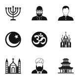 Beliefs icons set, simple style. Beliefs icons set. Simple illustration of 9 beliefs icons for web vector illustration