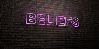 BELIEFS -Realistic Neon Sign on Brick Wall background - 3D rendered royalty free stock image. Can be used for online banner ads and direct mailers Stock Photography