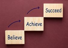 Believe Achieve Succeed stock photography
