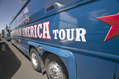 Believe in America tour busses parked in front of Valley View Rec Center, Henderson, NV Stock Photography