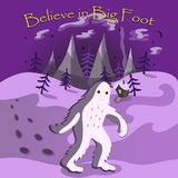 Believe in big foot postcard with a monster going through the night settlement stock illustration