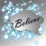 Believe concept. Believe text on bokeh background royalty free illustration
