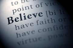 Believe. Dictionary definition of the word believe Stock Images