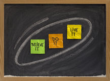 Believe, do, live it - motivational concept Stock Photography