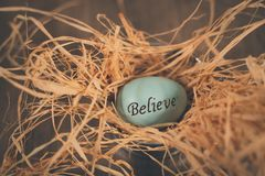 Believe easter egg in straw bed royalty free stock photo
