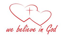 We believe in God. Red logo on a white background Royalty Free Stock Images