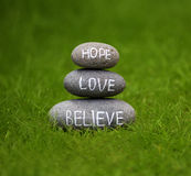 Believe, hope and love Stock Images