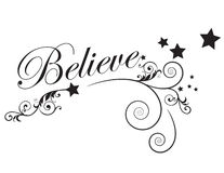 Believe. An illustration with the word Believe with scrolls, swirls and stars stock illustration